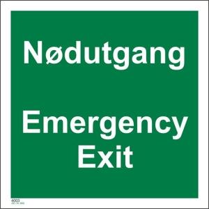 Nødutgang Emergency Exit skilt