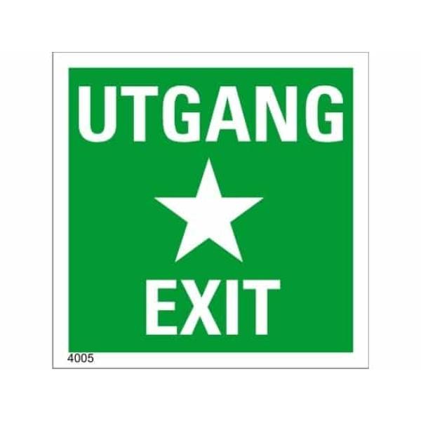 UTGANG / EXIT, 35X35, ETTERLYSENDE SKILT 1