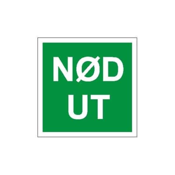 NØD UT, 20X20, ETTERLYSENDE SKILT 1
