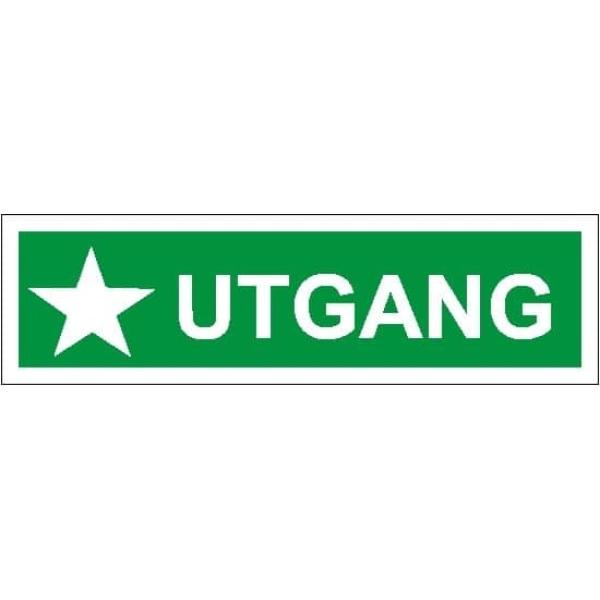 UTGANG, 35X10, ETTERLYSENDE SKILT 1