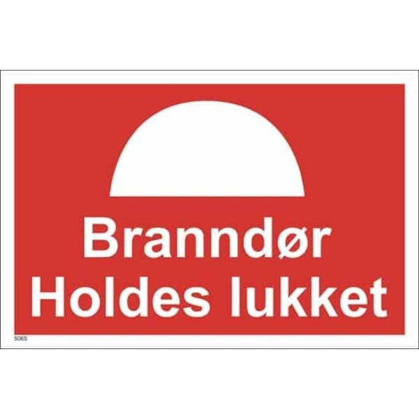 BRANNSKILT BRANNDØR HOLDES LUKKET, 30X20CM 1