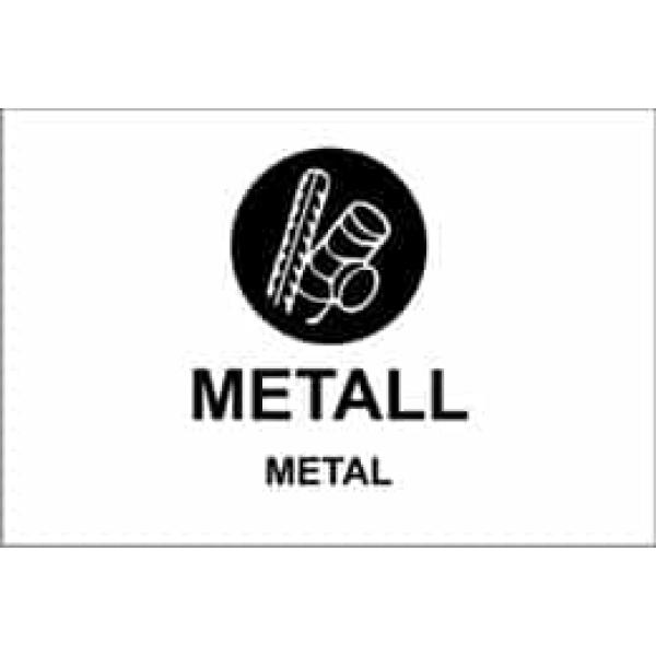 """KILDESORTERING """" METALL"""" ENGELSK TEKST, 30X20, 1MM PVC 1"""