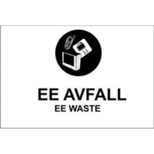 """KILDESORTERING """" EE AVFALL"""" ENGELSK TEKST, 30X20, 1MM PVC 1"""