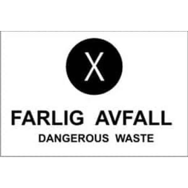 """KILDESORTERING """" FARLIG AVFALL"""" ENG TEKST, 30X20, 1MM PVC 1"""