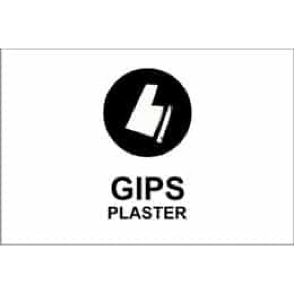 """KILDESORTERING """" GIPS"""" ENGELSK TEKST, 30X20, 1MM PVC 1"""
