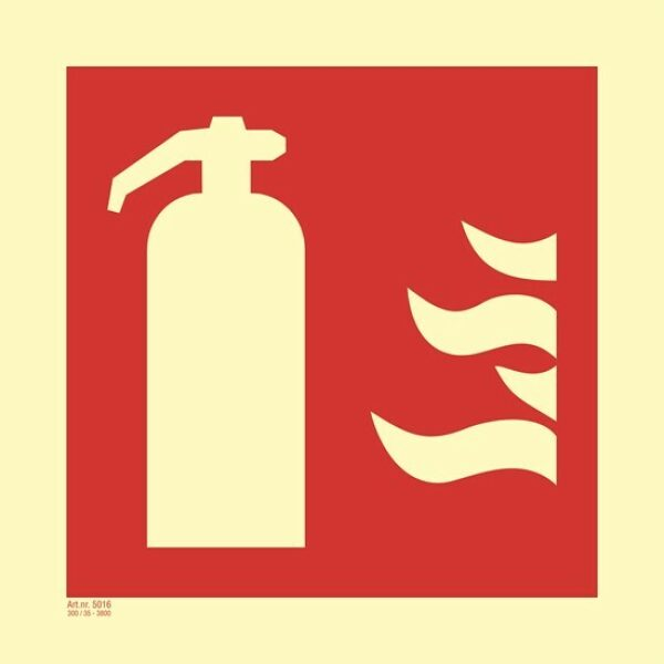 Brannskilt brannslukker 10x10cm selvlysende
