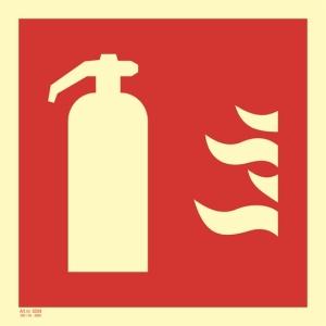 Brannskilt brannslokker 35x35cm selvlysende etterlysende skilt
