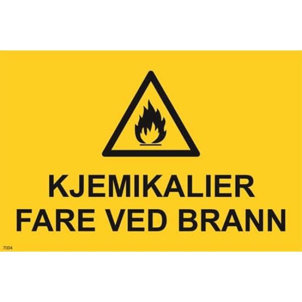 ADVARSEL KJEMIKALIER-FARE VED BRANN, 20X30 1