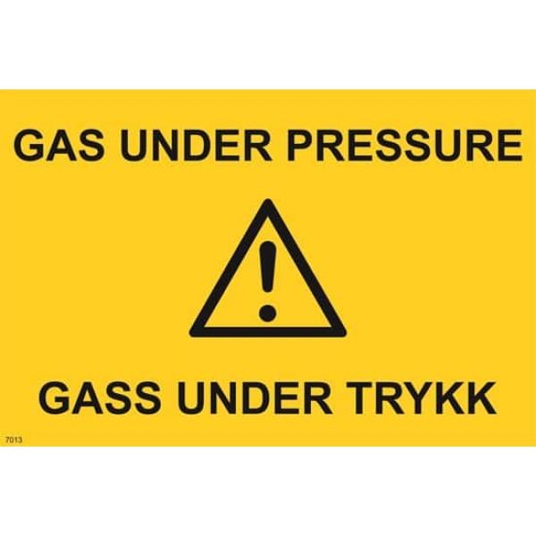 ADVARSEL GAS UNDER PRESSURE, 20X30 1