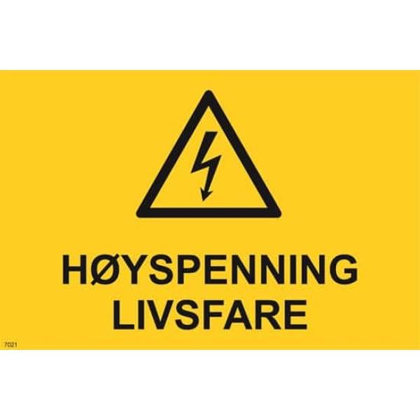 ADVARSEL HØYSPENNING LIVSFARE, 20X30 1