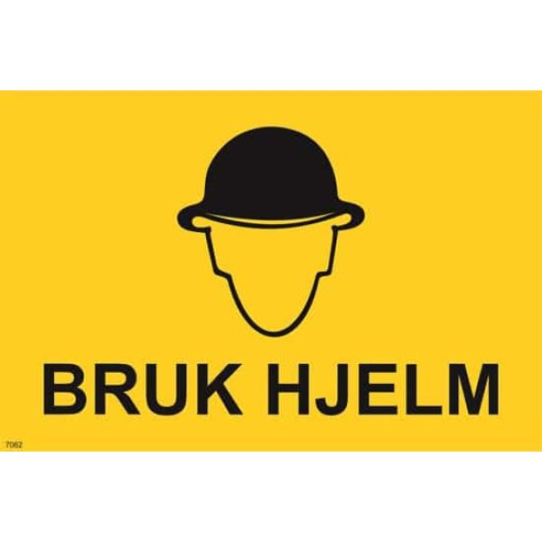 ADVARSEL BRUK HJELM, 20X30 1