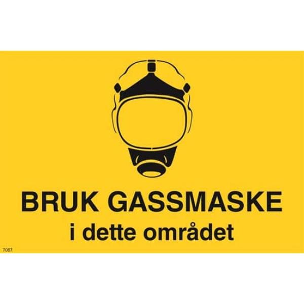 ADVARSEL BRUK GASSMASKE, 20X30 1