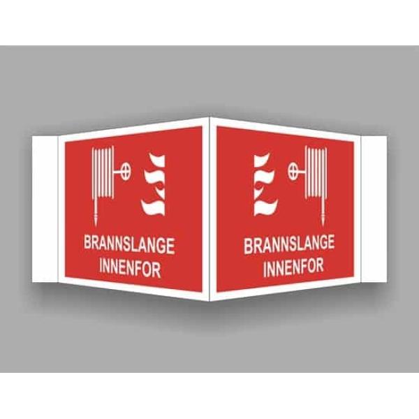 BRANNSKILT BRANNSLANGE INNENFOR, 21X14CM PLOG 1
