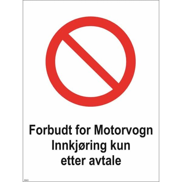 FORBUDT FOR MOTORVOGN 40X30 1