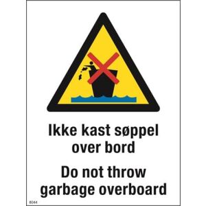 Ikke kast søppel over bord skilt