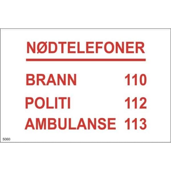 BRANNSKILT NØDTELEFONER, 21X14CM 1