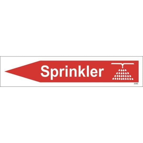 BRANNSKILT SPRINKLER M/ PIL VENSTRE, 33X7CM 1