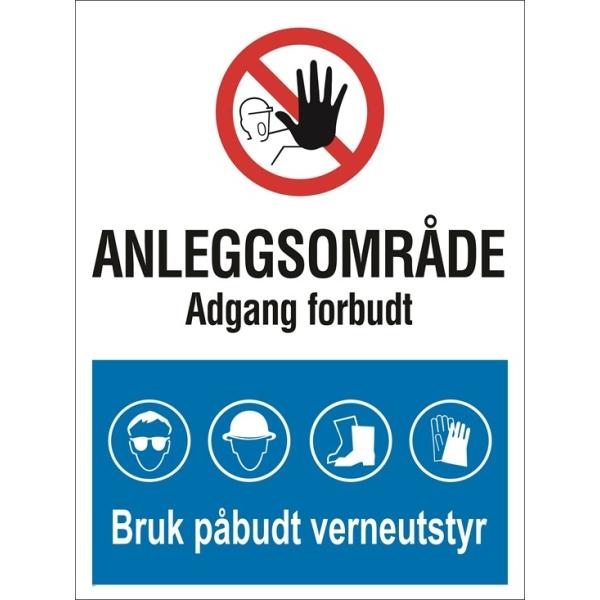 Skilt - Anleggsområde Adgang forbudt, bruk verneutstyr