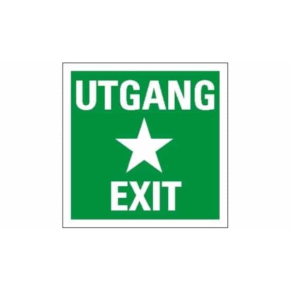 UTGANG / EXIT, 20X20, ETTERLYSENDE SKILT 1