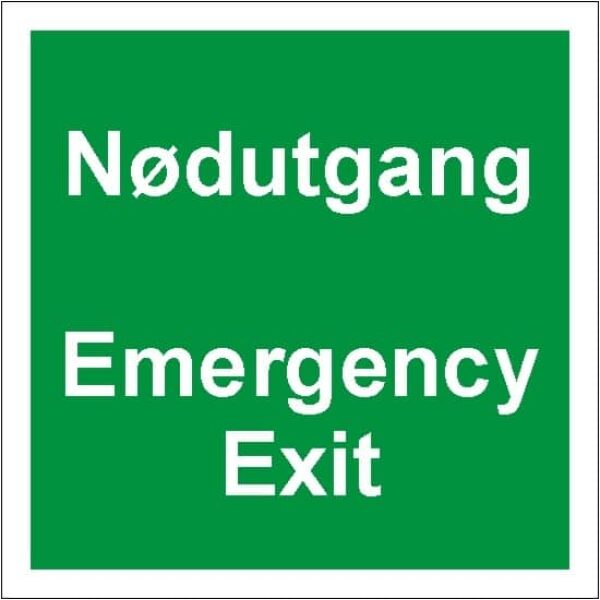 NØDUTGANG / EMERGENCY EXIT, 35X35, ETTERLYSENDE SKILT 1