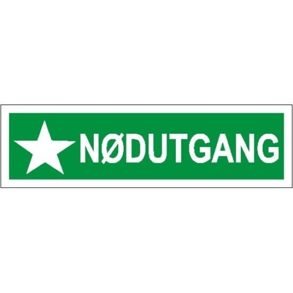 NØDUTGANG, 35X10, ETTERLYSENDE SKILT 1