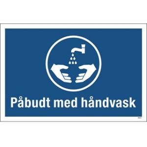 Påbudt med håndvask 20x30cm med tekst