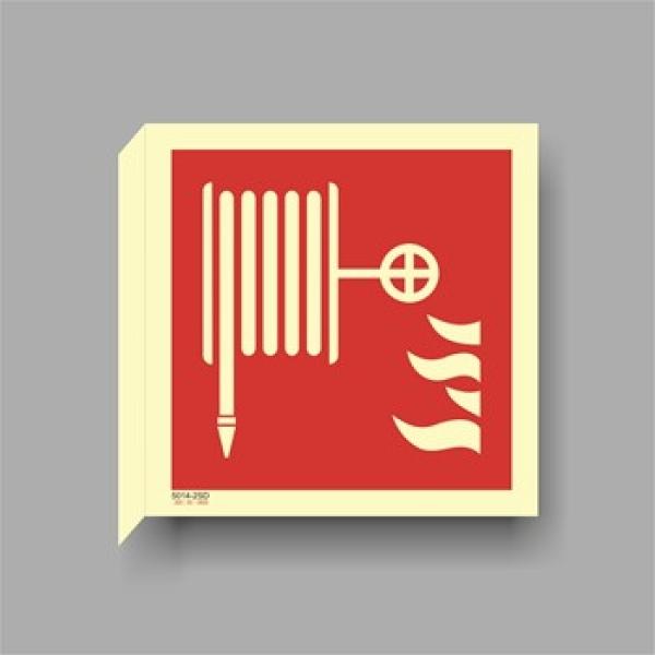 Brannskilt brannslange, tosidig flaggskilt, 15x15cm etterlysende