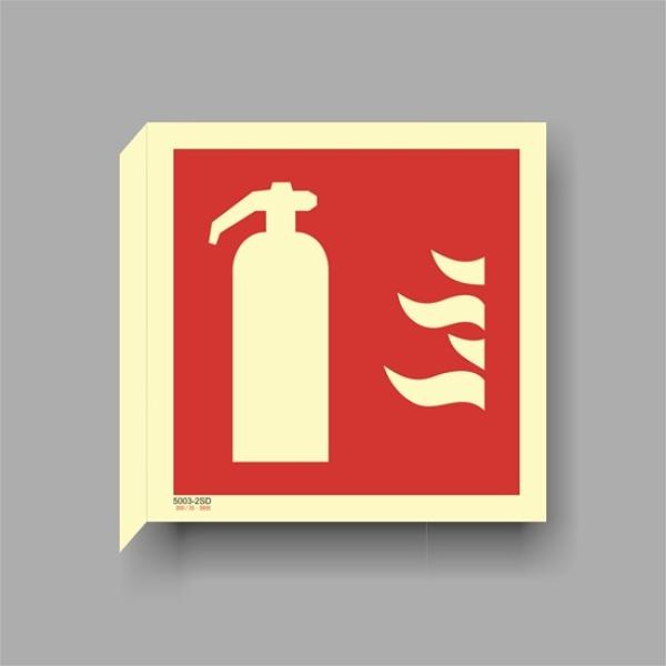 Brannslukkerskilt tosidig flaggskilt, etterlysende ISO7010